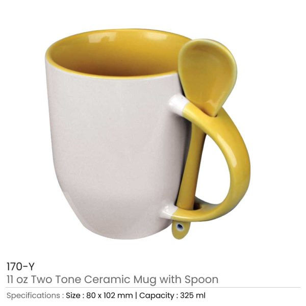 Ceramic Mugs with Spoon 170-Y