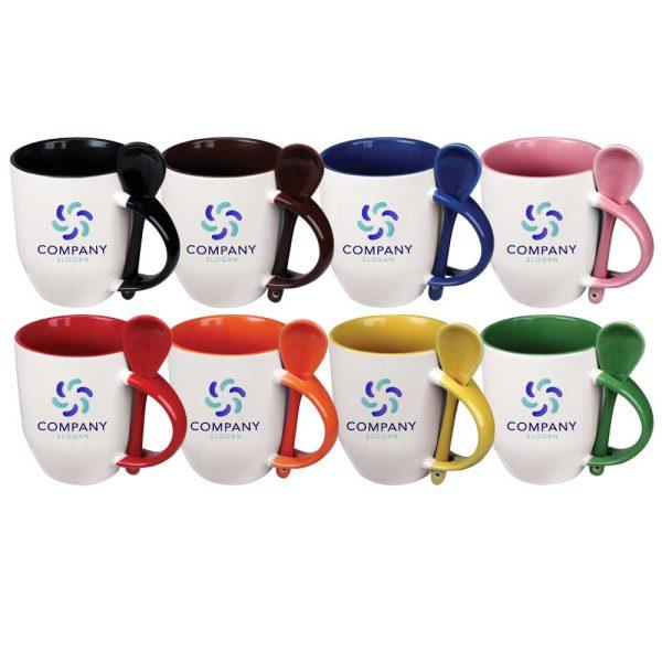 Branding Ceramic Mugs with Spoon 170