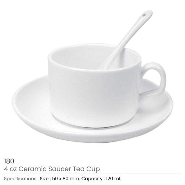 Ceramic Saucer Tea Cup with Spoon 180