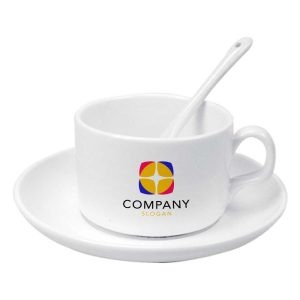 Branding Ceramic Saucer Tea Cup with Spoon 180