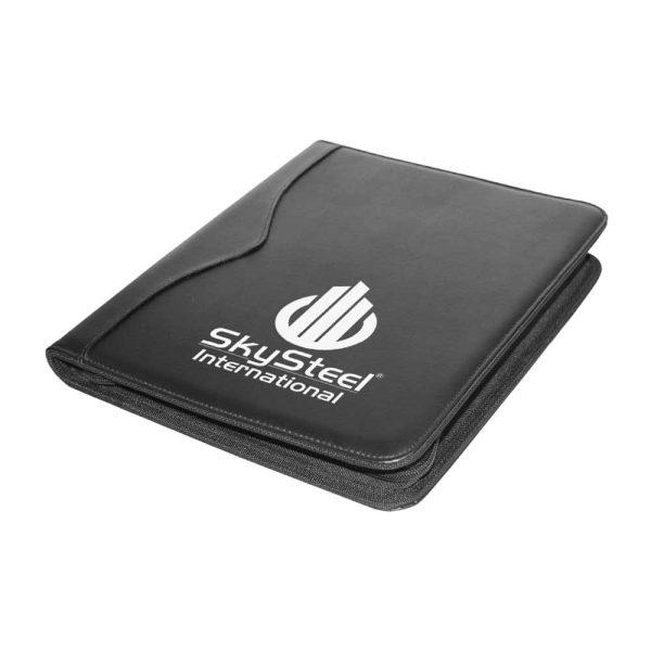 Branding Leather Portfolio with Zipper & Calculator