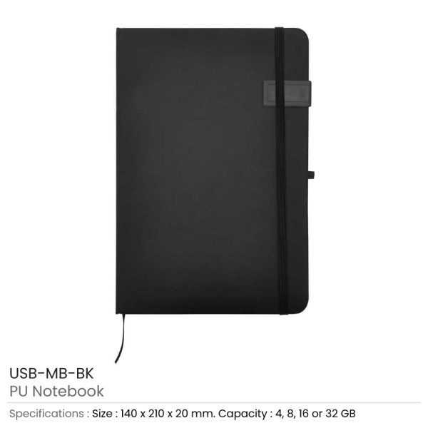 Black Notebook with USB Flash Chip