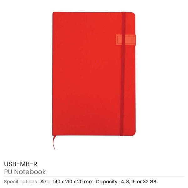 Red Notebook with USB Flash Chip