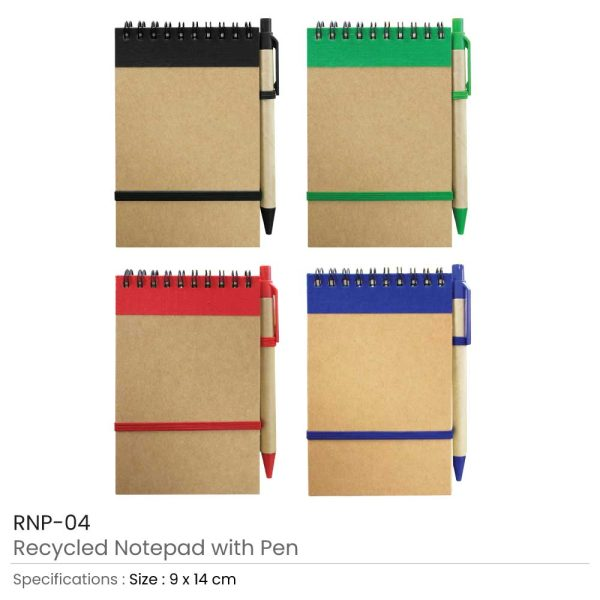 Promotional Recycled Notepads with Pen