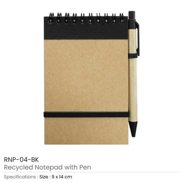 Notepads with Pen - Black