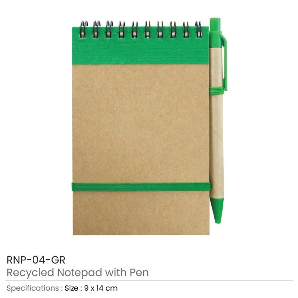 Notepads with Pen - Green