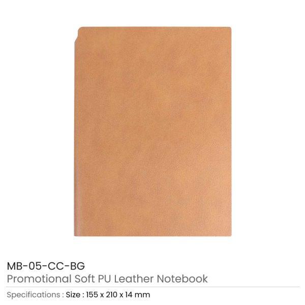Beige PU Leather Notebooks