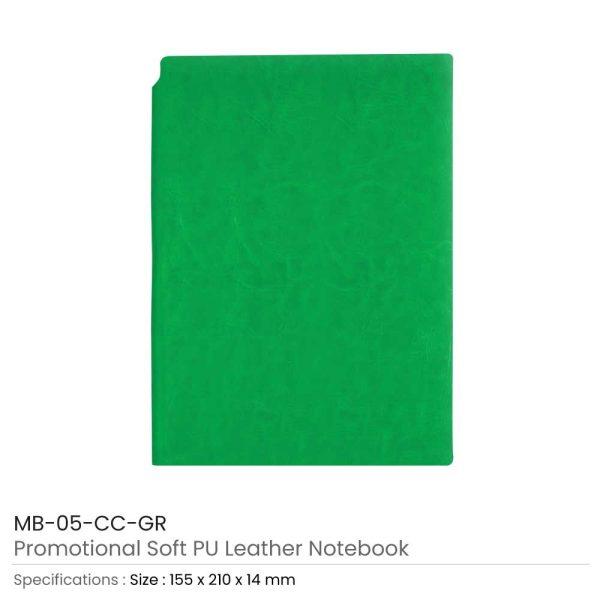 Green PU Leather Notebooks
