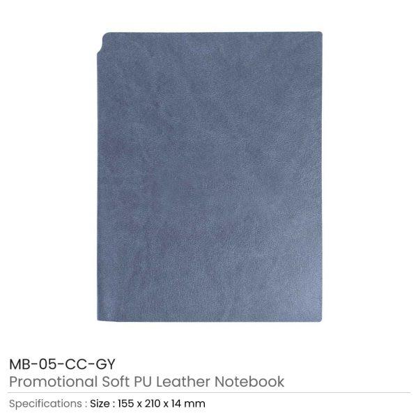 Grey PU Leather Notebooks