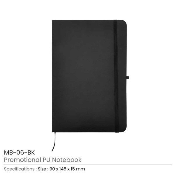 A6 Size Black PU Leather Notebook