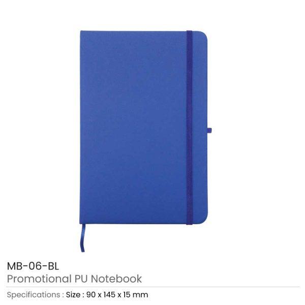 A6 Size Blue PU Leather Notebook