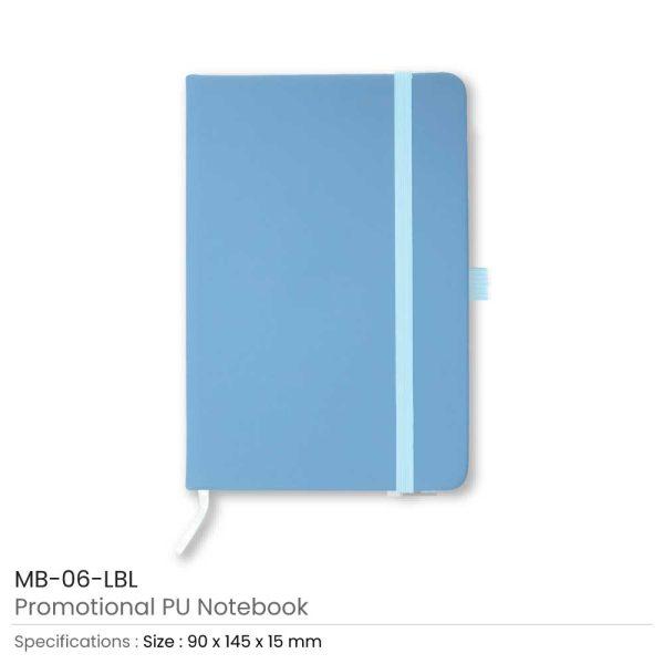 A6 Size Light blue PU Leather Notebook