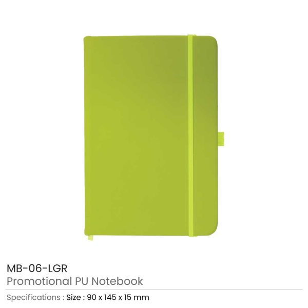 A6 Size Green PU Leather Notebook