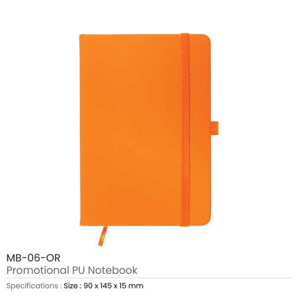 A6 Size Orange PU Leather Notebook
