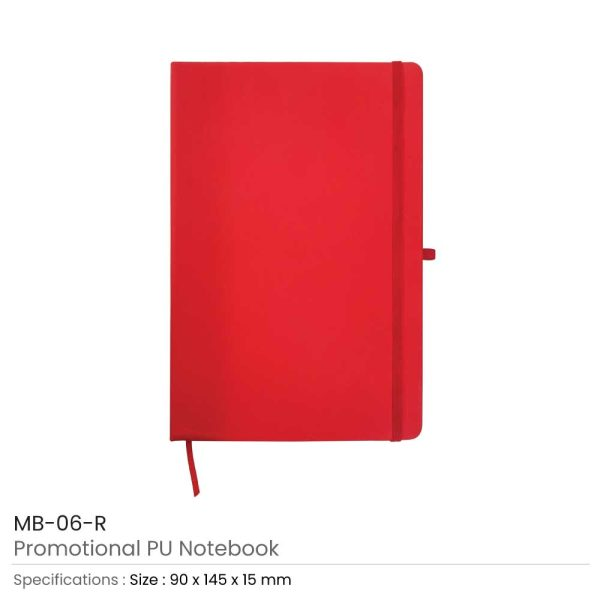 A6 Size Red PU Leather Notebook