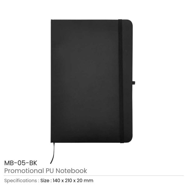 A5 Sized PU Leather Notebooks MB-05-BK