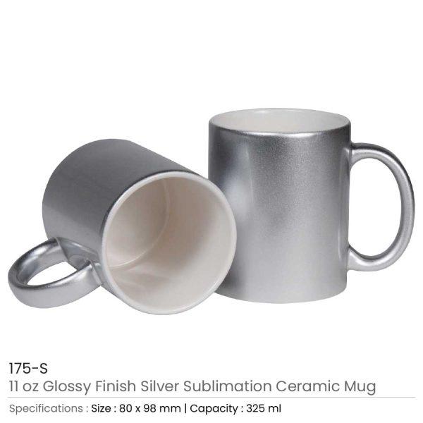 Silver Ceramic Mugs 175-S