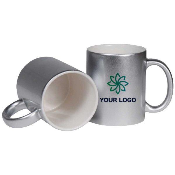 Branding Silver Ceramic Mugs 175-S