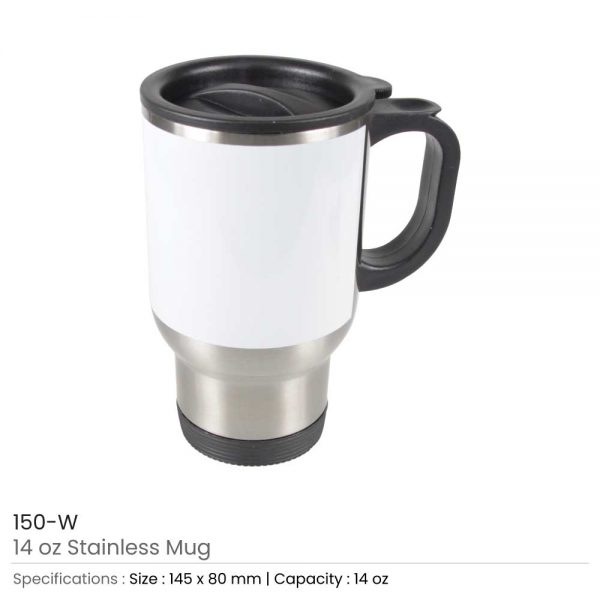 Stainless Steel Mugs with White Printable Area