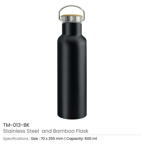 Promotional Stainless Steel and Bamboo Flask Black