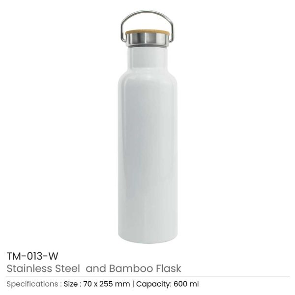 Promotional Stainless Steel and Bamboo Flask White