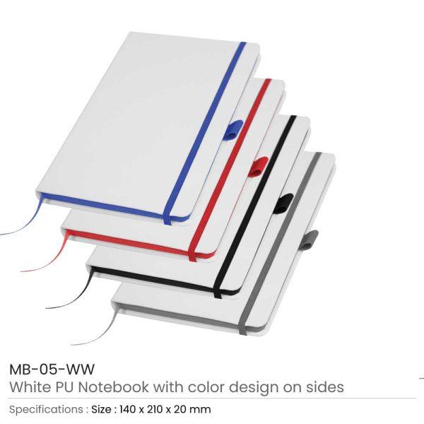 Promotional White PU Leather Notebooks