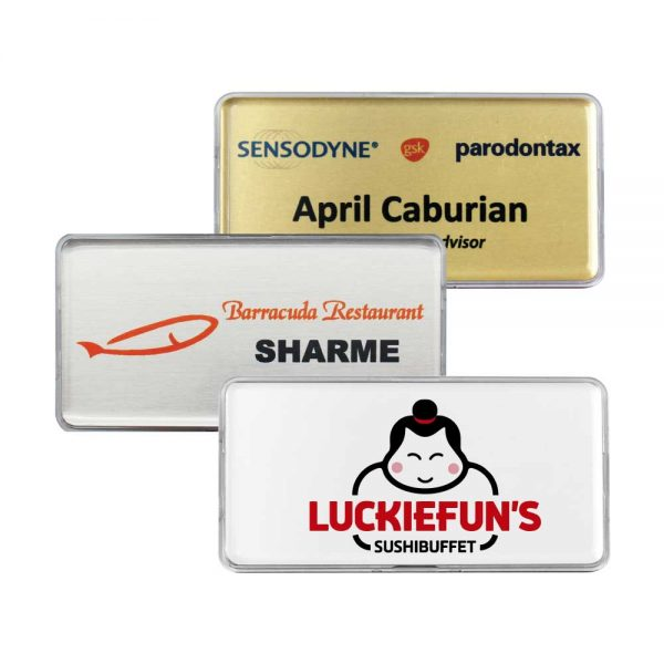 Printed Lens Cover Name Badges