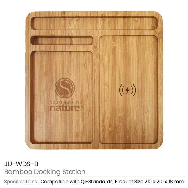 Bamboo Wireless Charger Docking Station JU-WDS-B