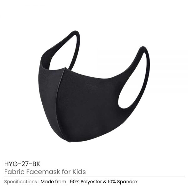 Kids Face Mask in Black Fabric