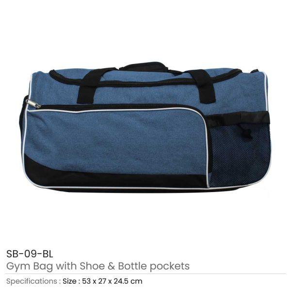 Gym Bag with Shoe and Bottle-Pockets SB-09-BL