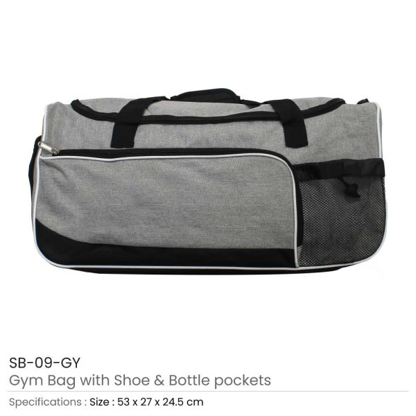 Gym Bag with Shoe and Bottle-Pockets SB-09-GY