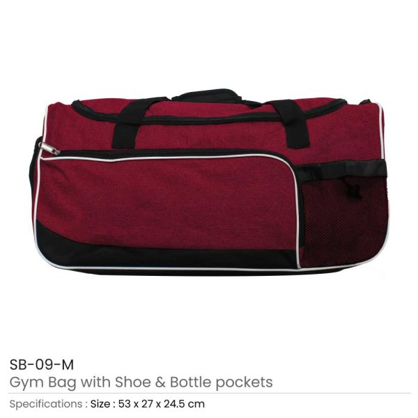 Gym Bag with Shoe and Bottle-Pockets SB-09-M