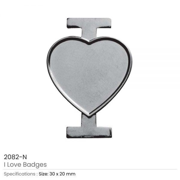 I Love Badges Silver