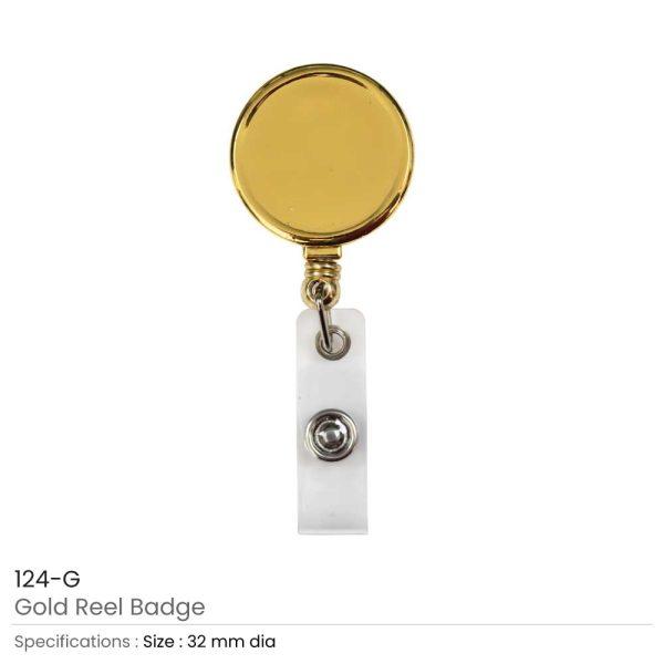 Round Reel Badge Metal Gold