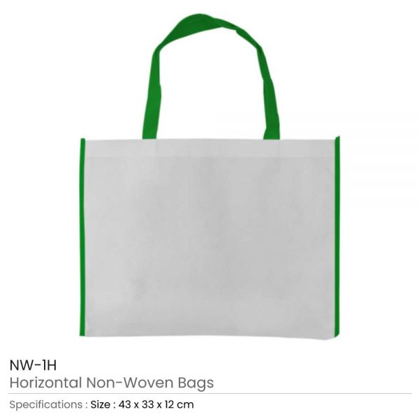 Non-woven Bags White and Green