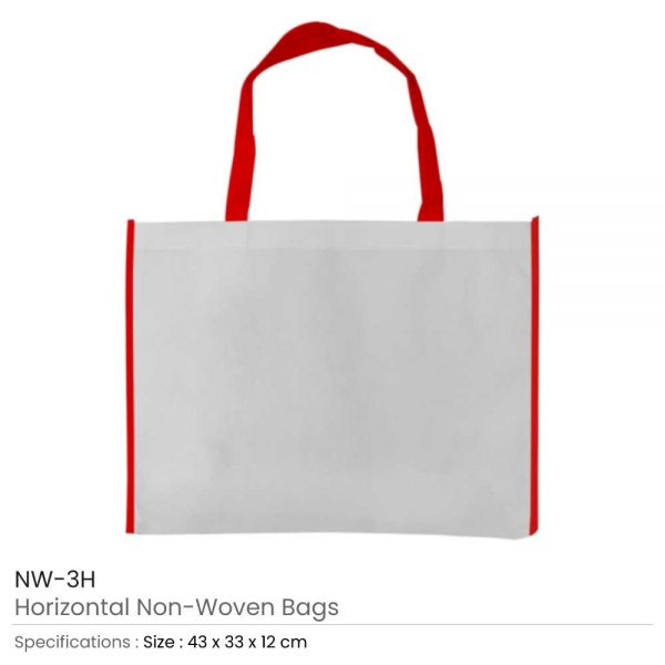 Non-woven Bags White and Red