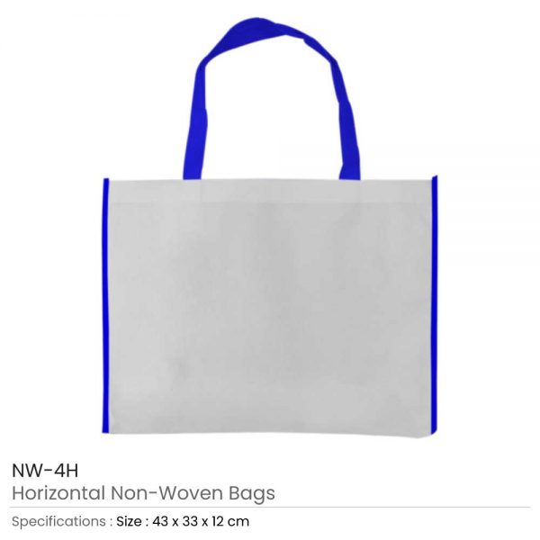 Non-woven Bags White and Blue