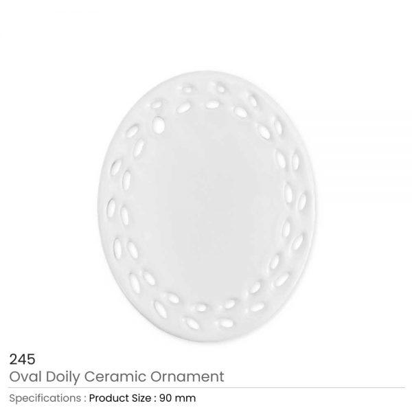 Oval Doily Ceramic Ornaments