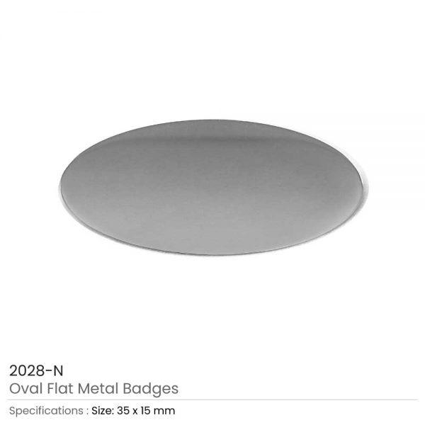 Silver Oval Shape Flat Logo Badges