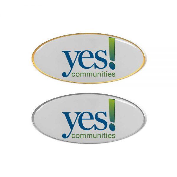 Printed Oval Shape Flat Logo Badges