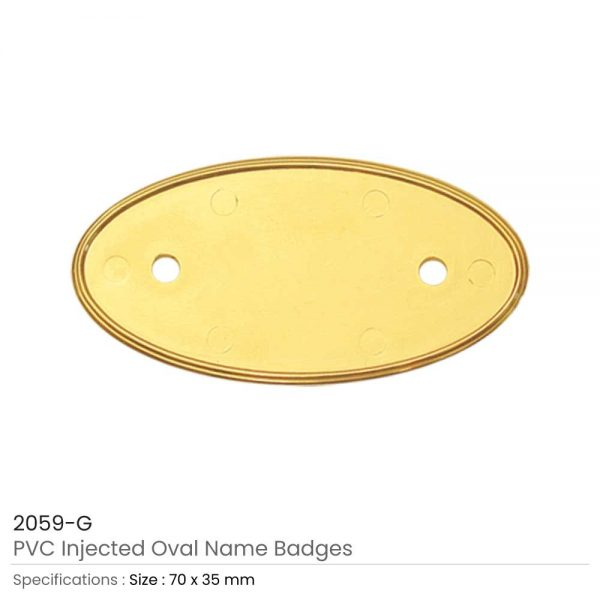PVC Injected Oval Badges Gold