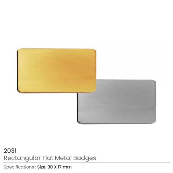 Rectangular Flat Metal Badges