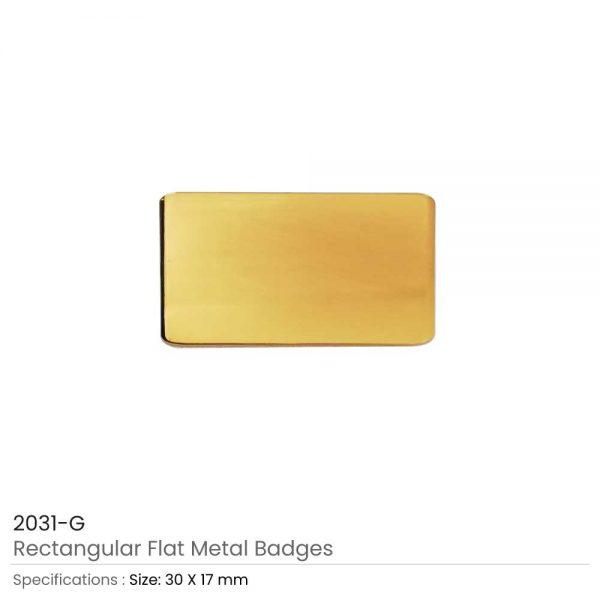 Gold Rectangular Flat Metal Badges