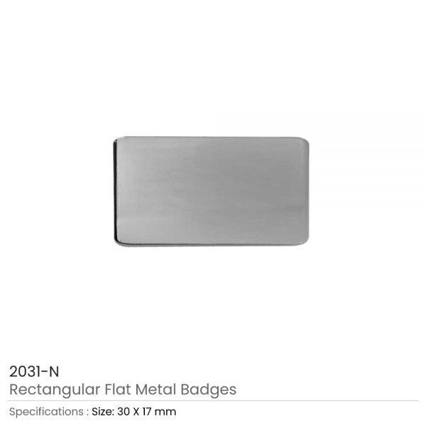 Silver Rectangular Flat Metal Badges