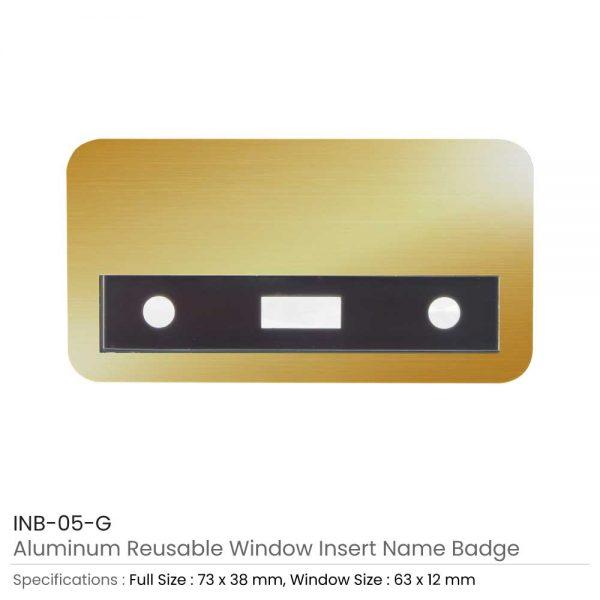 Reusable Insert Name Badges Gold