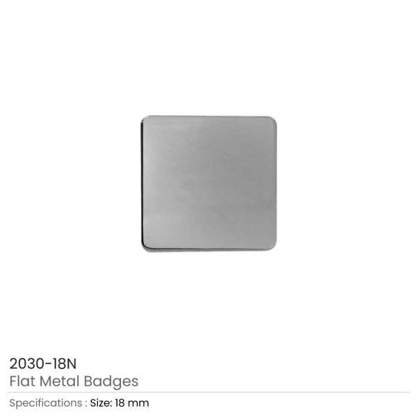 Square Flat Metal Badges Silver