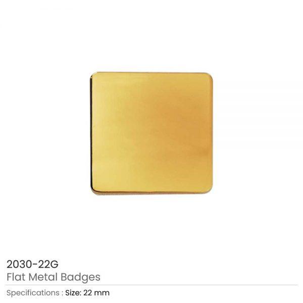 Square Flat Metal Badges Gold