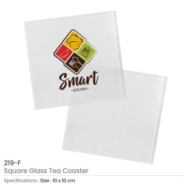 Square Glass Tea Coasters 10cm