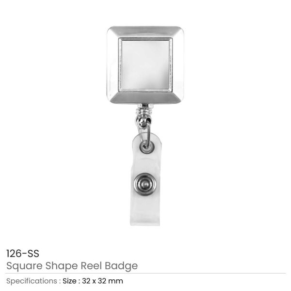 Square Badge Reels in Silver Mirror Shiny