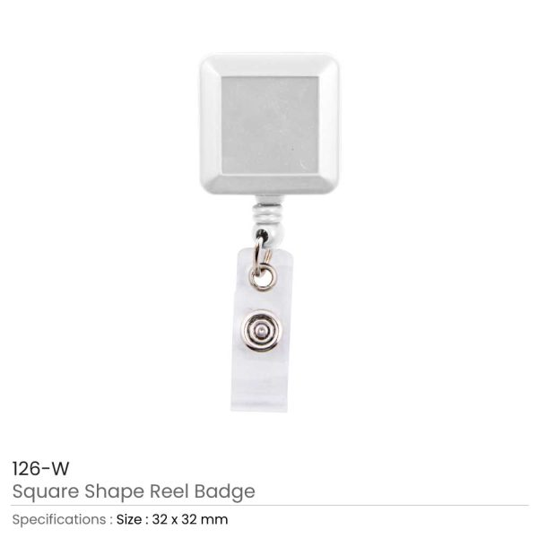 White Badge Reels in Square Shape